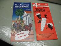 TRAVEL  BROCHURES  CARIBBEAN  NASSAU  1954 PAN AM AIRWAYS & AAA  ORIGINALS NICE