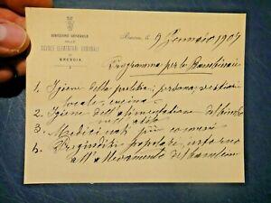 1907 / BIGLIETTO CARTA INTESTATA - DIREZIONE GENERALE SCUOLE ELEMENTARI BRESCIA