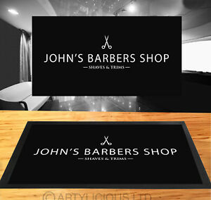 Personalised with your name black Barber shop Barbers Shop Counter mat