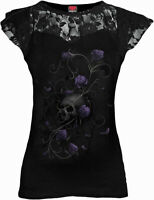 Spiral Ladies Black Gothic Floral Dress Lace Cap Top T-Shirt Entwined Skull Gift