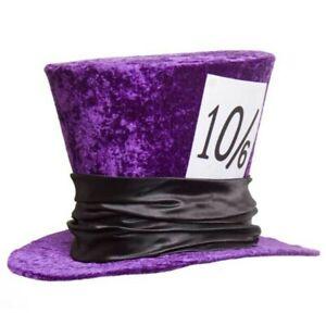 Mad Hatter Hat Deluxe Velvet Purple Alice in Wonderland Dr Toms Accessory