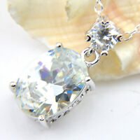 Fashion  Jewelry White Fire Topaz Gemstone Silver Necklace Pendants With Chain