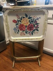 Vintage TV Tray Tables and stand Set of 4 Floral WHITE W/ GOLD CAL DAK