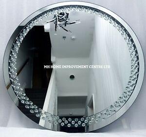 Brillante Flotante Cristal Plata Redondo Pared Espejo 70cm Recibidor Salón Fault