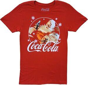 Men's Coca-Cola Logo Santa Christmas Red Classic Retro Vintage T-Shirt Tee New