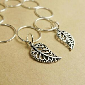 Leaf hair rings set 8x braid rings dread rings dreadlock rings silver color