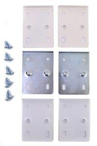 Hinge Repair Plates Kit Cupboard Door Cabinet + Screws  - White/Cream/Zinc