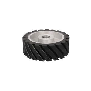"6"" 150mm Rubber Serrated Sand Belt Grinder Wheel Polishing Contact Wheel 1"" Hole"