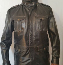 SCHOTT MEN'S  BLACK MILITARY INSPIRED LEATHER JACKET w CONCEALED HOODIE SIZE XL