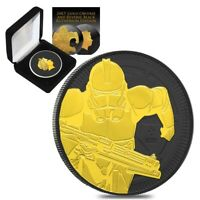 2019 1 oz Niue Silver $2 Star Wars Clone Trooper Black Ruthenium 24K Gold