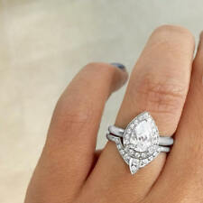 Third Eye Pear Diamond Engagement Ring with Matching Band Real 10Kt White Gold