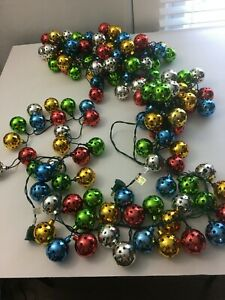 Vintage Christmas Electric String Lights Round Balls with Star Cutouts 10'