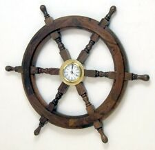 "NAUTICAL Marine Navigation SHIP WHEEL with SOLID BRASS QUARTZ WALL CLOCK 18"" New"