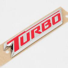 "Chrome / RED Auto Turbo Emblem Badge 85mm X 20mm (3.25"")"