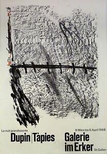 Antoni Tapies: La nuit grandissante Dupin. 1968. Sign. Plakat, O.-Lithografie.
