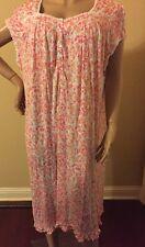 Eileen west nightgown 2X  long 100% Modal Cap Sleeves Pink Multi