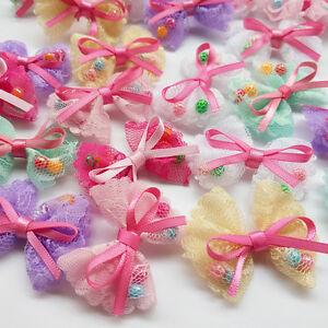 36pcs Mesh Ribbon Flowers Bows Appliques Craft  Wedding Doll Dec