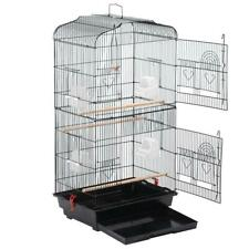 "36"" Large Black Metal Bird Cage for Parrot, Cockatiel & Canary"