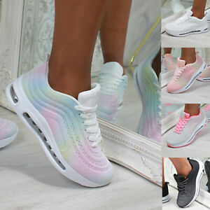 New Womens Air Sole Ombre Trainers Sports Running Comfy Shoes Sizes 3-8