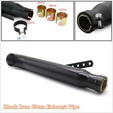 Black Iron 50cm Motorcycle Racing Muffler Exhaust Pipe with 3 Reducing Sleeves
