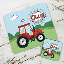 Personalised Kids New Red Tractor Wooden Glossy Placemat and Coaster Set