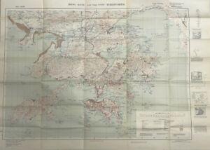 1949 War Office Map Hong Kong and The New Territories Map RARE