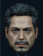 Custom Robert Downey 1/6 Head Sculpt for Hot Toys Tony Stark Muscular Body