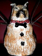 "ARTIST SIGNED PRIMITIVE FOLK ART POTTERY-STONEWARE SNOW DOG-7""-OOAK-HAND MADE"