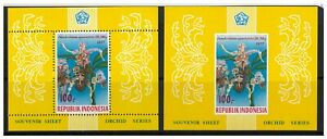 Indonesia 1977 Orchids Perf & Imperf 2 Mini Sheets of Stamps Sc.1012a MUH 12-20