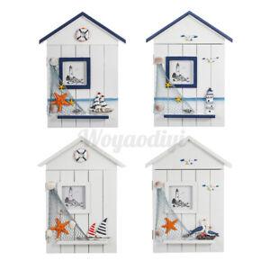6 Hooks Ocean Style Wooden Wall Key Cupboard Storage Box Cabinet Rack Holder