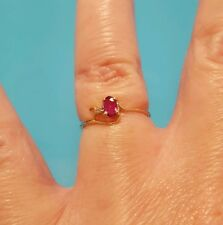 Solid 10k Yellow Gold Solitaire Diamond Pink Topaz  Ring Size 5.5 New