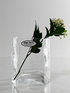 Time Tree Handmade Clear Turkish Glass Mini Rentangular Vase Height 10cm
