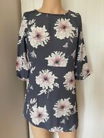Joules Dress Tunic Top UK Size 12 Womens Ladies Grey Light Floral Summer Viscose