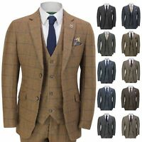 Mens 3 Piece Tweed Suit Herringbone Check Retro Peaky Blinders Tailored Fit