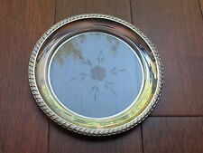 """Vintage Etched Glass And Sterling Silver Rim Dish Plate 5.5"""""""