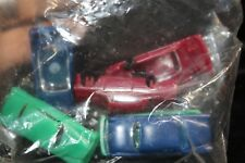 Ho Scale 6 plastic cars, red, blue, green, new, in original sealed bag (1390)