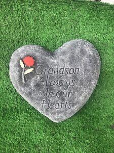 Grandson Always In Our Hearts, Memorial Stone Heart Garden Ornament Gravemarker