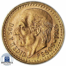 Mexiko 2,5 Pesos Gold 1945 bfr Goldmünze Miguel Hildago Münze in Münzkapsel