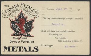 1907 Canada Metal Co Private Post Card, Toronto to Winnipeg
