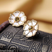 14K Carat Gold Plated Enamel Earrings Stud Flower Gem Crystal Karat Mothers Day
