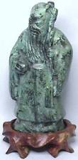 VERY OLD ANTIQUE CHINESE VERDIGRIS BRONZE SHOULAO SAGE GOD FIGURE STATUE W/STAND