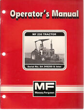 Massey Ferguson MF 230 Tractor SN 9A 349200 & Later Operator's Manual