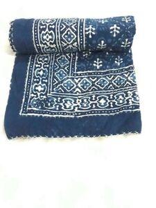 Hand Blocked Indigo Indian Kantha Quilt Throw Bedspread Cotton Gudri Twin