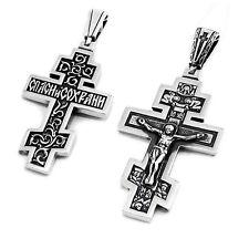 SILBER KREUZ 925 Sterling Orthodoxe Anhänger k38 крест серебрянный