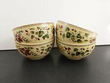 "Waverly Floral Manor Cereal Bowls Set of 4 Garden Room Unused 6"" Grape Flower"