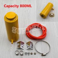 Yellow 800ml Cylinder Radiator Overflow Reservoir Coolant Tank Aluminum Can AU
