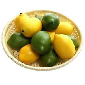 6/10x Limes Lemon Lifelike Artificial Plastic Fake Fruit Imitation Home Decor UK