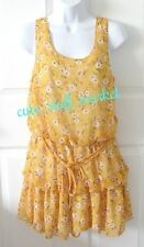 FOREVER 21 FLORAL PRINT BUBBLE TIERED MINI DRESS w/ TIE WAIST YELLOW S SMALL
