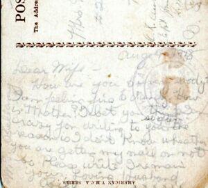 Morgantown West Virginia Censored Postcard 1918 Pvt Bill Bellamy WW1 Soldier LK