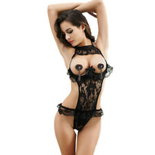 Sexy Open Bust Hollow Out Lace Lingerie Teddy Floral Sleepwear Pajamas Bodysuit